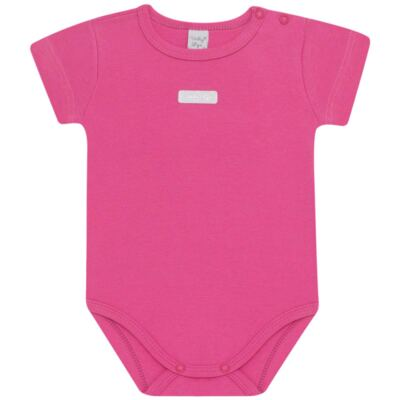Imagem 1 do produto Body curto para bebe básico em suedine Pink - Vicky Lipe - BC238 BODY MC SUEDINE PINK-M