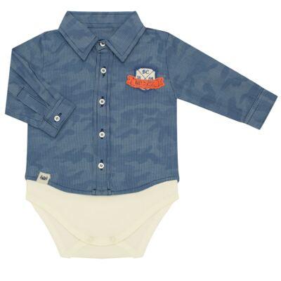 Imagem 1 do produto Body Camisa para bebe em tricoline Camouflage - Baby Classic - 092953 CAMISA BODY TRICOLINE LONDON -M