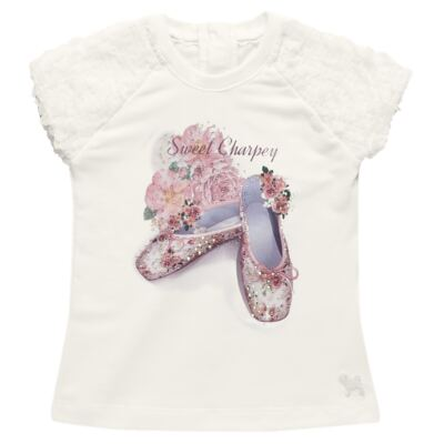 Imagem 2 do produto Blusa com Legging para bebe em cotton Ballerina Camelli - Charpey - CY14729.138 CONJ. BLUSA C/ LEGGING OFF WHITE -G