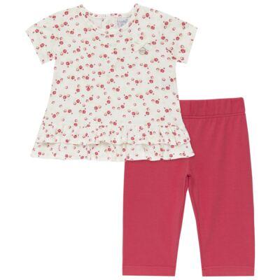 Imagem 1 do produto Bata com Legging para bebe em cotton Flowery Bear - Vicky Lipe - 8341360 CONJ. BATA COM LEGGING COTTON URSA FLORAL-3
