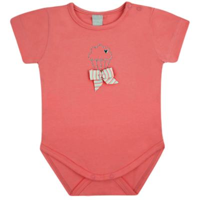 Body curto para bebe em cotton Strawberry - Vicky Lipe - 89845 BODY MC FEMININO COTTON COELHA-G