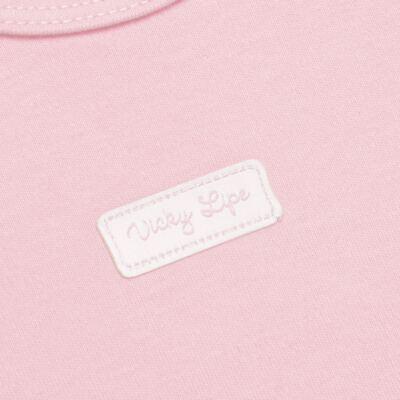 Imagem 3 do produto Body curto com Shorts para bebe em suedine Rosa - Vicky Lipe - CSH1376 CONJ. BODY M/C C/ SHORTS SUEDINE ROSA BB-P