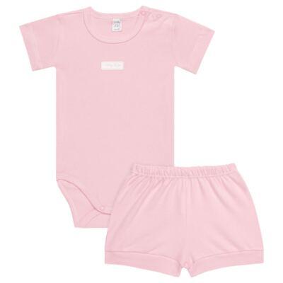 Imagem 1 do produto Body curto com Shorts para bebe em suedine Rosa - Vicky Lipe - CSH1376 CONJ. BODY M/C C/ SHORTS SUEDINE ROSA BB-2