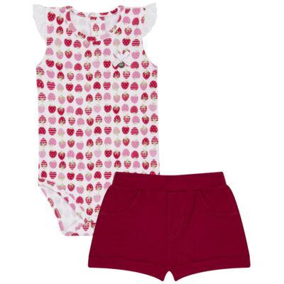 Imagem 1 do produto Body curto com Shorts para bebe em algodão egípcio c/ jato de cerâmica e filtro solar fps 50 Moranguinhos - Mini & Kids - BBI1745 CONJ BODY M/C C/ SHORTS SUEDINE MORANGOS-P