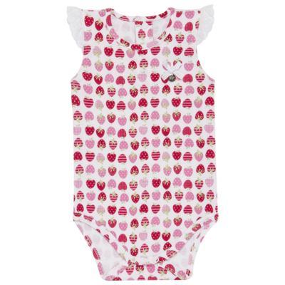 Imagem 2 do produto Body curto com Shorts para bebe em algodão egípcio c/ jato de cerâmica e filtro solar fps 50 Moranguinhos - Mini & Kids - BBI1745 CONJ BODY M/C C/ SHORTS SUEDINE MORANGOS-P
