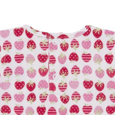 Imagem 4 do produto Body curto com Shorts para bebe em algodão egípcio c/ jato de cerâmica e filtro solar fps 50 Moranguinhos - Mini & Kids - BBI1745 CONJ BODY M/C C/ SHORTS SUEDINE MORANGOS-P