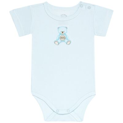 Body curto para bebe em Pima Cotton Supreme Prime Bear Azul - Mini & Kids - BDMC0001.63 BODY MANGA CURTA - SUEDINE-GG