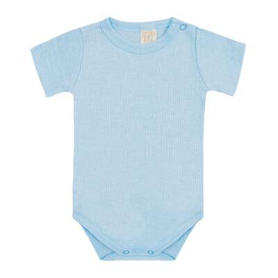 Imagem 1 do produto Body curto canelado para bebe Azul - Pingo Lelê - PL9001-AZ BODY MANGA CURTA AZUL-P