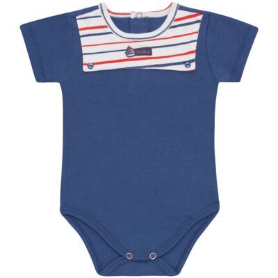 Imagem 1 do produto Body curto para bebe c/pala em Pima Cotton Supreme Sailor Boy - Mini & Kids - BCAF540 BODY MC COM ABER.FRONTAL SUEDINE-M