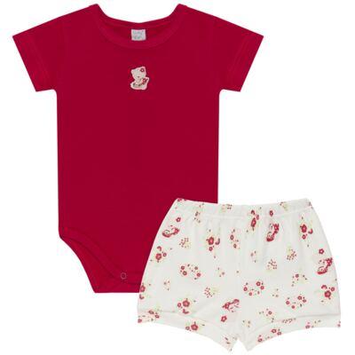 Imagem 1 do produto Body curto com Shorts para bebe em suedine Flowery Bear - Vicky Lipe - CSH1360 BODY M/C C/ SHORTS SUEDINE URSA FLORAL-M