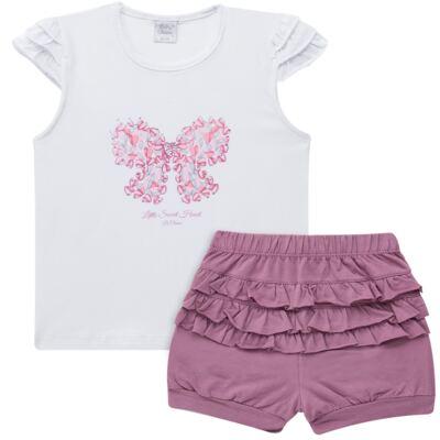 Imagem 1 do produto Blusinha com Shorts babadinhos para bebe em spandex Dolce Amore - Baby Classic - 18690001.20 BLUSINHA M/C COM SHORTS COTTON TRICOT-3