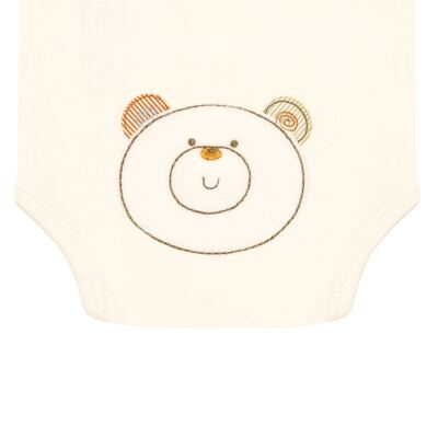 Imagem 3 do produto Body curto para bebe com abertura frontal em algodão egípcio c/ jato de cerâmica e filtro solar fps 50 Nature Beary Bear- Mini & Kids - BCA966 BODY M/C C/ ABERT.FRONTAL SUEDINE LITTLE FRIENDS 1-G