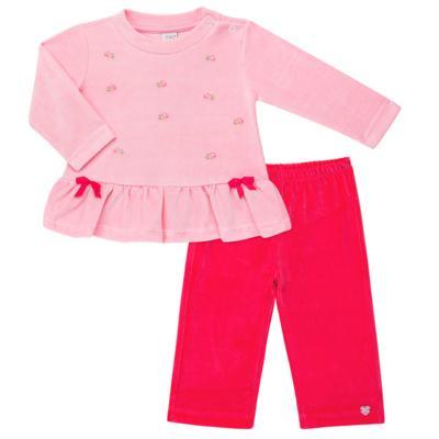 Imagem 1 do produto Bata com Calça para bebe em plush Little Roses - Baby Classic - 976881.218 CONJUNTO BATA COM CALÇA - PLUSH ROSA-1