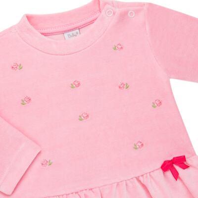 Imagem 3 do produto Bata com Calça para bebe em plush Little Roses - Baby Classic - 976881.218 CONJUNTO BATA COM CALÇA - PLUSH ROSA-1
