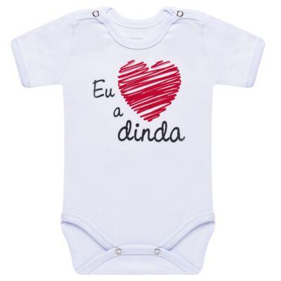 Imagem 1 do produto Body curto para bebe em suedine Eu <3 a Dinda - Primeiras Palavras - PP1027 BODY EU AMO A MADRINHA MANGA CURTA-G
