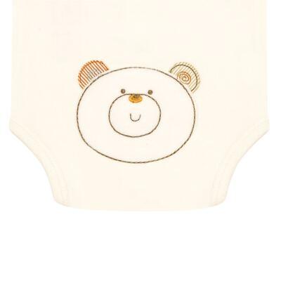Imagem 3 do produto Body curto para bebe com abertura frontal em algodão egípcio c/ jato de cerâmica e filtro solar fps 50 Nature Beary Bear- Mini & Kids - BCA966 BODY M/C C/ ABERT.FRONTAL SUEDINE LITTLE FRIENDS 1-P