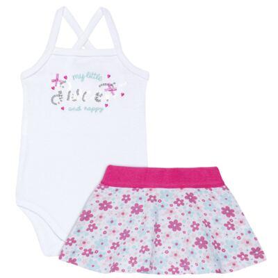 Imagem 1 do produto Body com Saia para bebe em malha Little Cute - Vicky Lipe - 23991362 BODY C/ SAIA MALHA ELEFANTINHO-M