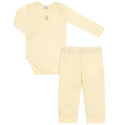 Imagem 1 do produto Body longo com Calça para bebe em suedine Amarelo - Vicky Lipe - 1822071.170 BODY M/L TRANSP MIJÃO SUEDINE HC AMARELO-M