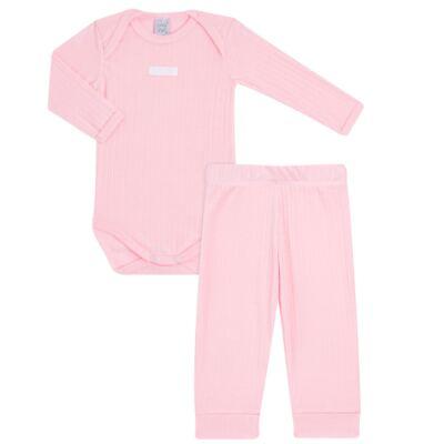 Imagem 1 do produto Body longo com Calça para bebe Sleep Comfort Rosa - Vicky Lipe