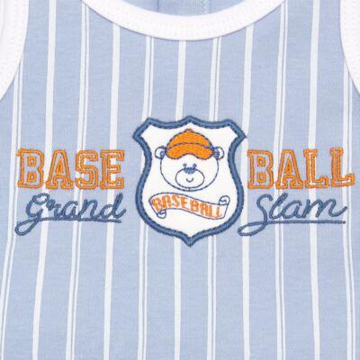 Imagem 2 do produto Banho de sol para bebe em suedine Baseball Cup - Vicky Lipe - 906767 BANHO DE SOL REGATA SUEDINE BASEBALL 2-P