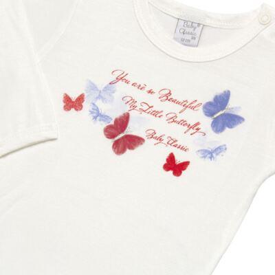 Imagem 3 do produto Body c/ Calça frufru e Faixa para bebe em viscolycra Butterflies - Baby Classic - 1621628 BODY COM MIJÃO COM FRU FRU VISCOLYCRA BUTTERFLY-M