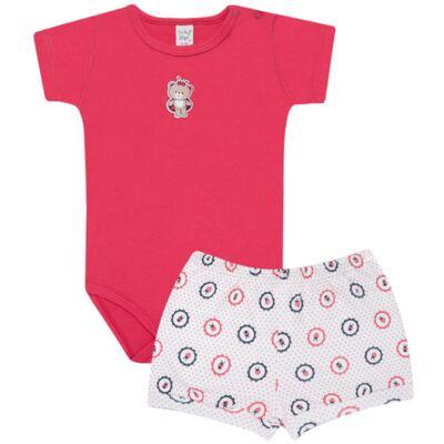 Imagem 1 do produto Body curto com Shorts para bebe em suedine Ladybug - Vicky Lipe - CSH562 CJ. BODY MC C SHORT SUEDINE URSA-P