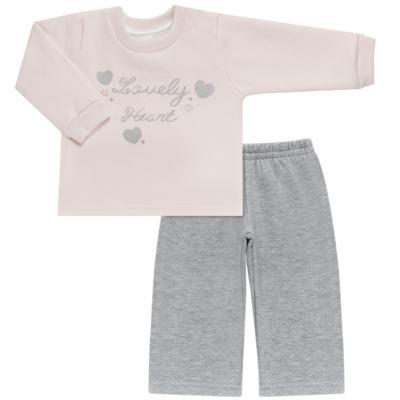 Imagem 1 do produto Blusão com Calça para bebe em moletom Lovely Heart - Mini Mix - LTCM04 CONJUNTO MOLETOM LOVELY HEART ROSA BB/MESCLA-3