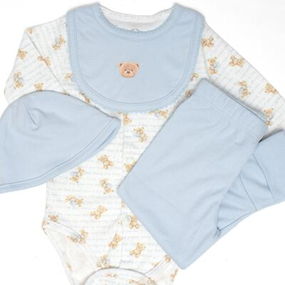 Imagem 2 do produto Body longo + Calça (mijão) + Babador + Touca em algodão egípcio com jato de cerâmica e filtro solar FPS 50 Maternity Blue Bear - Mini & Kids - BMBT1656 CONJ. BODY MIJAO BAB/TOUCA SUEDINE URSO MENINO-M