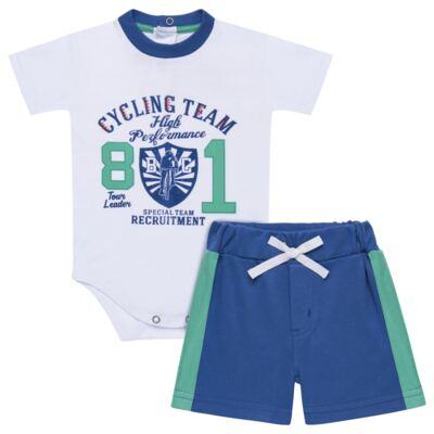 Imagem 1 do produto Body com Shorts em suedine Burnett- Baby Classic - 22441415 BODY MC C/ BERMUDA SUEDINE BICYCLE -P