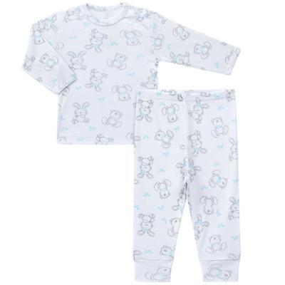 Imagem 1 do produto Blusa c/ Calça para bebe em algodão canelado Rabbit - Dedeka - DDK0860/E104 Conjunto Caneldo Estampado Coelho-RN