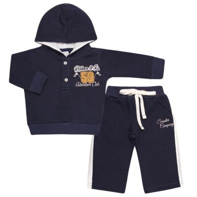 Imagem 1 do produto Blusão com capuz e Calça em moletom Wharton - Baby Classic - 59175 CONJ.BLUSÃO C/CAPUZ MOLETON SCOOTER-G
