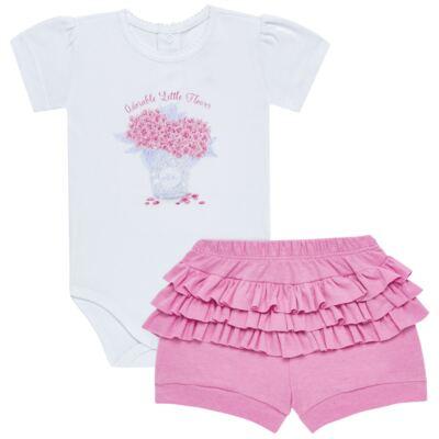 Imagem 1 do produto Body curto com Shorts para bebe em algodão egípcio c/ jato de cerâmica e filtro solar fps 50 L'hortensia- Mini & Kids - BSBA1746 CONJ. BODY MC C SHORTS SUEDINE HORTENCIAS-P