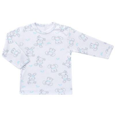 Imagem 2 do produto Blusa c/ Calça para bebe em algodão canelado Rabbit - Dedeka - DDK0860/E104 Conjunto Caneldo Estampado Coelho-2