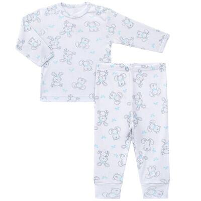Imagem 1 do produto Blusa c/ Calça para bebe em algodão canelado Rabbit - Dedeka - DDK0860/E104 Conjunto Caneldo Estampado Coelho-3