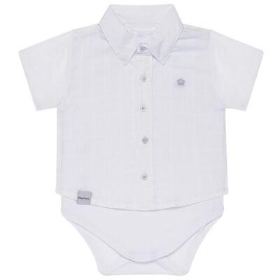 Imagem 1 do produto Body Camisa curto para bebe em tricoline Branco - Baby Classic - 02050001.09 BODY CAMISA - TRICOLINE-G