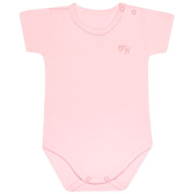 Body curto para bebe em Pima Cotton Supreme Rosa - Mini & Kids - BSM90 BODY MC SUEDINE ROSA BB-G
