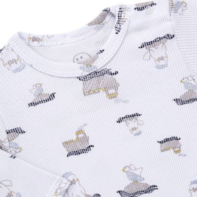 Imagem 3 do produto Body longo c/ Calça para bebe em algodão canelado Wally - Dedeka - DDK0890/E112 Conjunto de Body Canelado Estampado Morsa-RN
