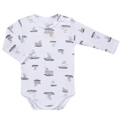 Imagem 2 do produto Body longo c/ Calça para bebe em algodão canelado Wally - Dedeka - DDK0890/E112 Conjunto de Body Canelado Estampado Morsa-GG