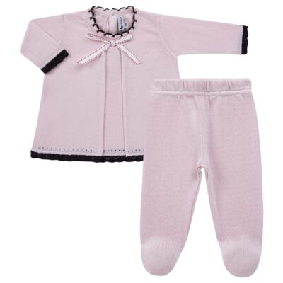 Imagem 1 do produto Vestido longo c/ Calça para bebe em tricot Anabel - Mini Sailor - 17954264 VESTIDO COM MIJAO TRICOT ROSA BEBE-9-12