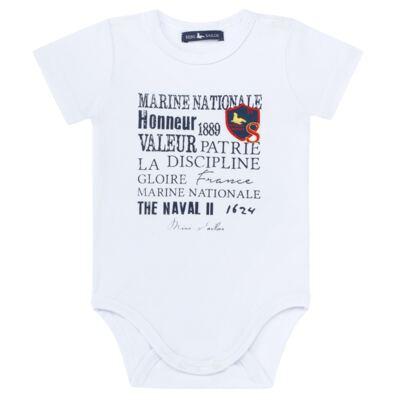 Imagem 2 do produto Body curto c/ Bermuda para bebe em moletinho Marine - Mini Sailor - 17244443 BODY M/C C/SHORTS COTTON/MOL VERMELHO-0-3