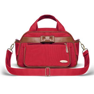 Imagem 4 do produto Kit Mala Maternidade para bebe + Bolsa Viagem Oxford + Térmica Kent + Kit Acessórios + Trocador Laço Caramel Vermelho - Classic for Baby Bags