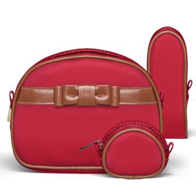 Imagem 5 do produto Kit Mala Maternidade para bebe + Bolsa Viagem Oxford + Térmica Kent + Kit Acessórios + Trocador Laço Caramel Vermelho - Classic for Baby Bags