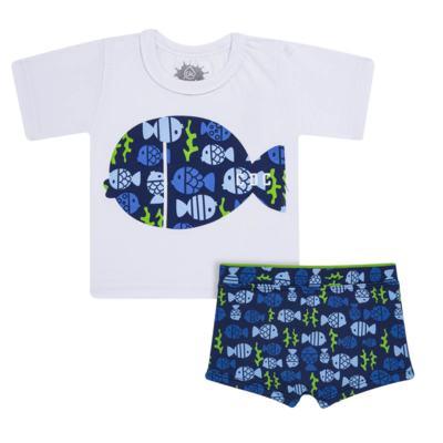 Imagem 1 do produto Conjunto de Banho Peixinhos: Camiseta + Sunga - Cara de Criança - KIT 1 2618: SB2618 + CCA2618 SUNGA E CAMISETA PEIXINHOS-3