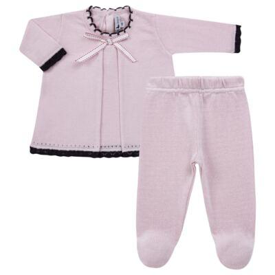 Imagem 1 do produto Vestido longo c/ Calça para bebe em tricot Anabel - Mini Sailor - 17954264 VESTIDO COM MIJAO TRICOT ROSA BEBE-6-9