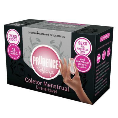 Imagem 2 do produto Kit Prudence Coletor Menstrual Softcup 4 Unidades + Lenços Umedecidos Íntima 16 Unidades