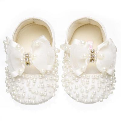 Imagem 1 do produto Sapatilha para bebe em cetim Pérolas & Laço Marfim - Roana - SPL00059031  Sapatilha Pérolas Laço Organza Marfim-M