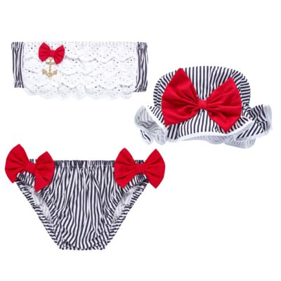 Imagem 1 do produto Conjunto de banho Sailor: Biquini + Chapéu - Roana - BSTR0901008 Banho de Sol c/ Top Marinho Âncora-M