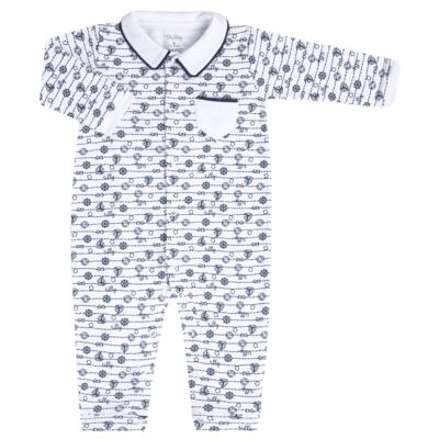 Imagem 1 do produto Macacão longo para bebe em suedine Navy - Tilly Baby - TB168170 MACACAO ML MASCULINO SUEDINE NÁUTICO-G