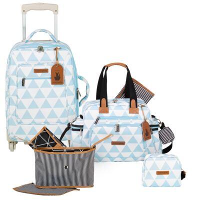 Imagem 1 do produto Mala maternidade com Rodízio + Bolsa Everyday + Frasqueira Organizadora + Necessaire Manhattan Azul - Masterbag