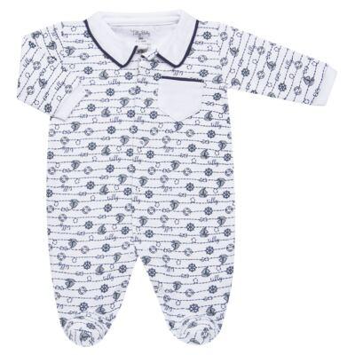 Imagem 1 do produto Macacão longo para bebe em suedine Navy - Tilly Baby - TB168170 MACACAO ML MASCULINO SUEDINE NÁUTICO-RN